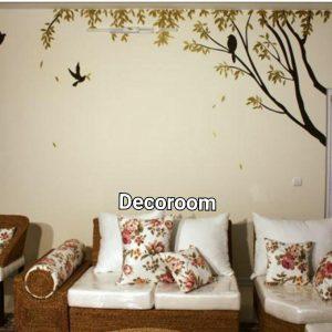 نمونه اجرا شده برچسب دیواری درخت و پرنده