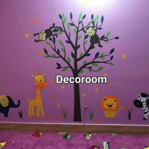 نمونه اجرا شده برچسب دیواری در مهد کودک