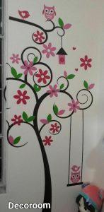 نمونه تولید شده برچسب دیواری طرح درخت و جغد