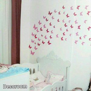 نمونه تولید شده برچسب دیواری طرح پروانه