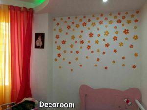 نمونه تولید شده برچسب دیواری گل با ست پرده
